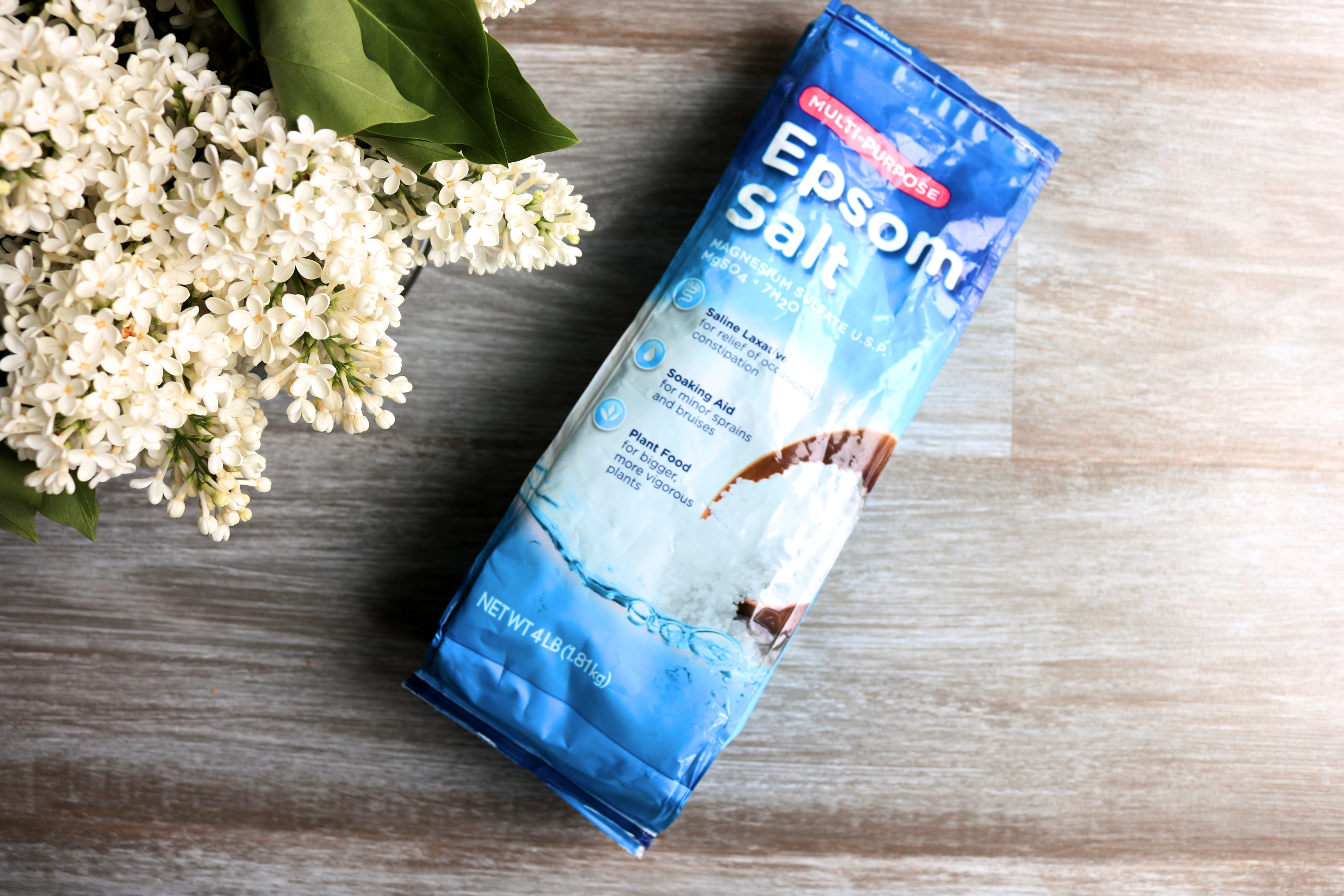 Epsom salt with warm water helps infection, swelling in the skin to go away due to splinters or other foreign objects.