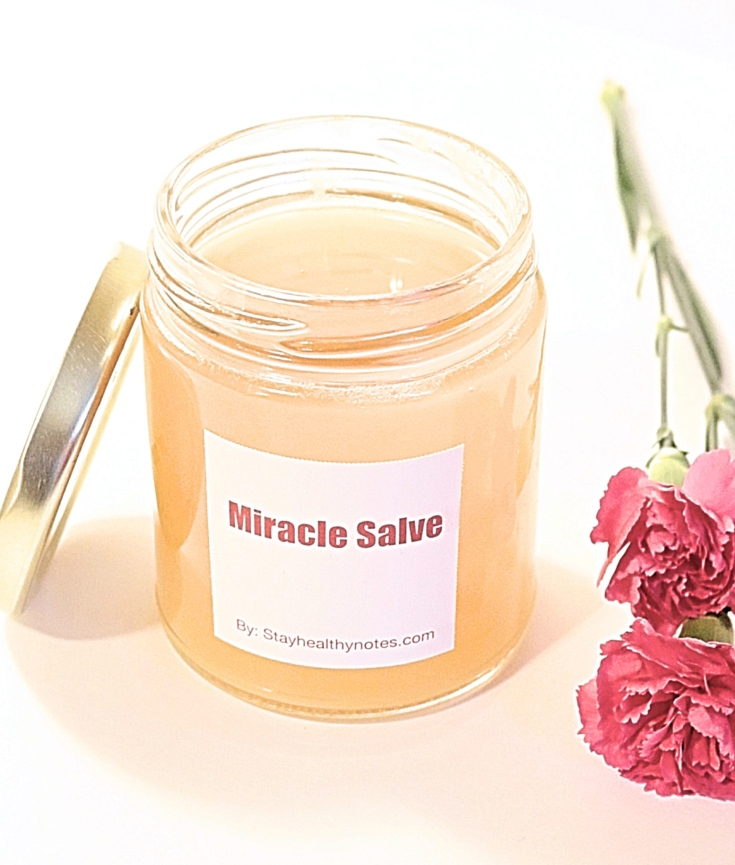 Done product-miracle salve. Cool it down properly with a lid open and store it with a lid closed in the refrigerator.